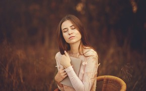 Picture autumn, girl, nature, portrait, book, reading, closed eyes, favorite novel