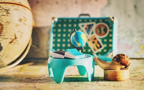 Picture macro, table, background, study, books, map, snail, suitcase, class, school, geography, globe, the room, the …