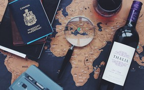 Picture wine, map, magnifier, passport
