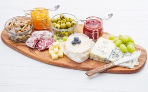Picture cheese, grapes, olives, jam, cutting, jam, cutting Board, olives