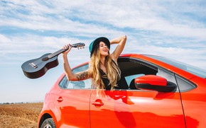 Picture field, the sky, girl, the sun, clouds, joy, red, pose, smile, guitar, hat, makeup, Mike, ...