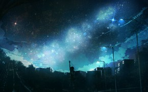 Picture the sky, girl, night, the city, anonamos