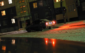 Picture winter, Belarus, Mogilev, my photo, night scene, Tekhnopribor, audi 80