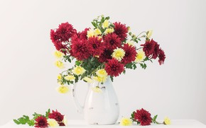 Picture flowers, vase, Still life, chrysanthemums