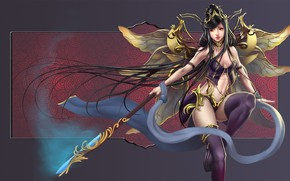 Picture girl, wings, fairy, spear
