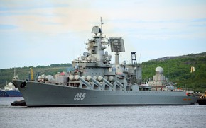 Picture cruiser, rocket, mooring, the project 1164, Marshal Ustinov