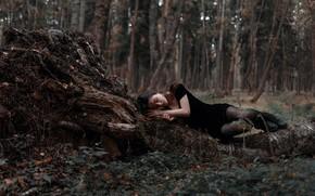 Picture forest, girl, lies, legs, Juliana Naidenova, Ksenia Chapkhaeva