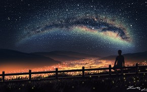 Picture night, the city, lights, silhouette, guy, the milky way