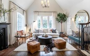 Picture design, interior, ladder, fireplace, living room