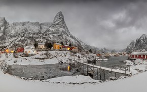 Picture winter, clouds, light, snow, mountains, lights, fog, overcast, rocks, shore, home, Norway, haze, houses, the …