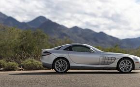 Picture Supercar, Silver, Side view, Mercedes-Benz SLR McLaren