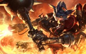 Picture fire, fantasy, League of Legends, Riot Games, Mace, Esben Lash Rasmussen, Rumble, SixMoreVodka