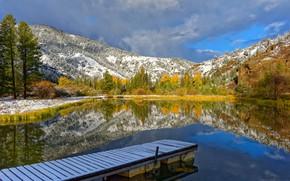 Picture autumn, trees, mountains, lake, reflection, Wyoming, Yellowstone, Wyoming, bridges, Yellowstone national Park, Yellowstone National Park