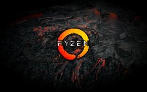 Picture grey, background, black, logo, AMD, dark, magma, Corn, Ryazan, Ryzen, RYZEN, Ryazhenka