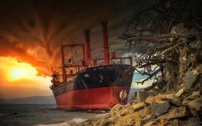 Picture storm, stones, ship, the ship, the cargo ship, broke, Paul Sahaidak