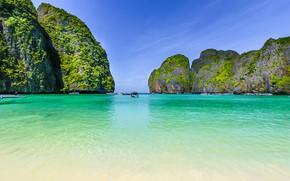 Picture sea, greens, the sky, the sun, stones, rocks, vegetation, island, Bay, boats, horizon, Thailand, boats, …