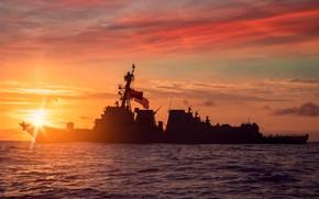 Picture sunset, destroyer, USS Paul Ignatius