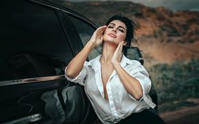 Picture machine, auto, girl, pose, hands, brunette, closed eyes, Anton Kharisov, Полина Гашкова