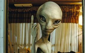 Picture freak, alien, alien, grin, big eyes, Pol, thumbs up, Gender secret materialchik