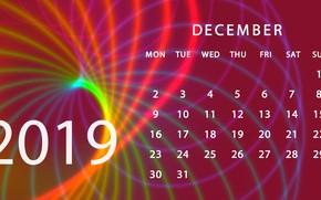 Picture calendar, December, 2019
