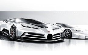 Picture Design, Figure, Bugatti, Hypercar, Sportscar, 2020, Bugatti EB110, EB110, One hundred and ten, Bugatti Centodieci