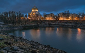 Picture landscape, night, the city, pond, building, home, Peter, lighting, Saint Petersburg, architecture, Naval Cathedral of …