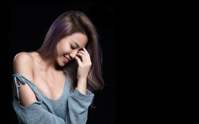 Picture smile, hair, Asian, cutie, the dark background