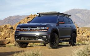Picture stones, rocks, Volkswagen, SUV, Atlas, 2019, dark gray, Basecamp Concept