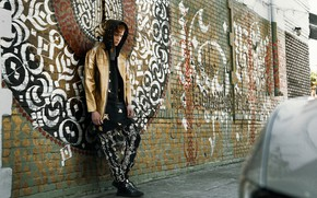 Picture wall, graffiti, the young man