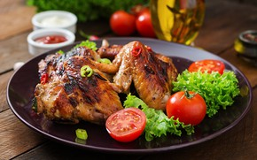 Picture yummy, wings, tomatoes, salad, grill
