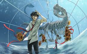 Picture water, dinosaur, anime, art, skeleton, guy, dinosaur skeleton