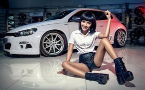 Picture look, smile, Girls, Volkswagen, Asian, beautiful girl, white car