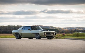 Picture Road, Chevrolet, Clouds, 1969, Camaro, Lights, Drives, Chevrolet Camaro, Muscle car, Classic car, Wide Body …