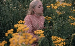 Picture grass, girl, face, mood, meadow, closed eyes, tansy