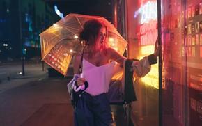 Picture chest, look, girl, umbrella, red, showcase, Inga Lis, Rome Rome