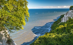Picture sea, wave, greens, beach, summer, clouds, light, trees, mountains, blue, rocks, branch, view, height, sailboat, …