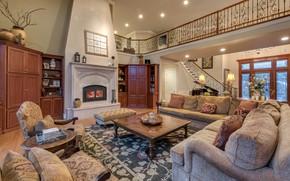 Picture design, style, Villa, interior, fireplace, living room, Sacramento