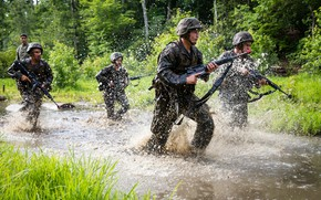 Picture gun, USA, soldier, weapon, man, uniform, camouflage, USMC, Americans, Naval Academy