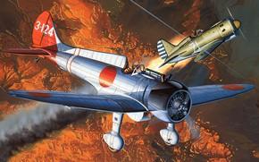 Picture art, airplane, aviation, ww2, MITSUBISHI, A5M, claude