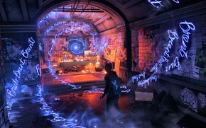 Picture the tunnel, guy, words, inFAMOUS: Second Son