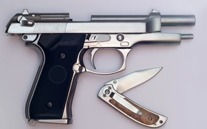 Picture close-up, gun, background, knife