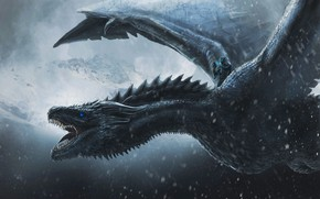 Picture Dragon, Snow, Flight, Wings, Mouth, Fantasy, Dragon, Art, Fiction, Game of Thrones, Game of thrones, …