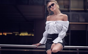 Picture girl, model, skirt, glasses, blouse, Iryna