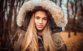 Picture autumn, look, trees, Park, background, model, portrait, makeup, jacket, hairstyle, blonde, hood, fur, nature, posing, …