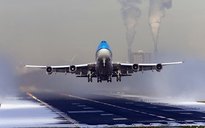 Picture aviation, the plane, runway, landing, passenger liner, boeing 747, Dutch Airline