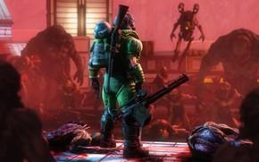 Picture rendering, helmet, machine gun, armor, shotgun, demons, marine, Doom, doomguy