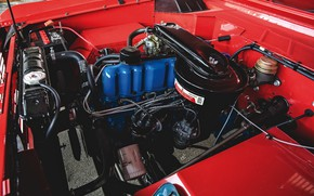 Picture red, Roadster, Ford, 1966, Bronco, under the hood
