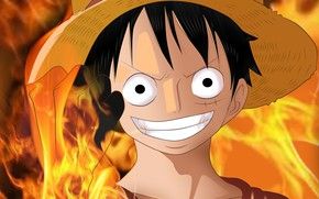 Picture smile, fire, hat, guy, One Piece