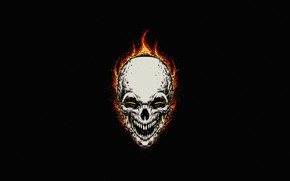 Picture Minimalism, Skull, Fire, Style, Background, Ghost Rider, Ghost rider, Flame, Fantasy, Fire, Art, Art, Flame, …