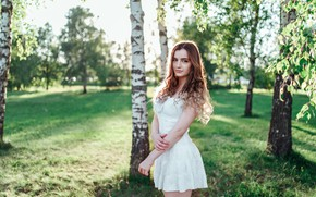 Picture look, trees, face, pose, Girl, makeup, hairstyle, Cyril Masanov